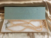 Vintage 1970s Long Double Stranded Faux Pearl Necklace Boho Clasp BOXED