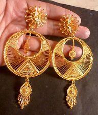 22K Gold Plated Round 4 cm Diameter 9 cm Long Indian Wedding Jhumka Earrings