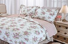 Textiles Plus Quilted Cottage Spring Rose Quilt set  Twin NEW