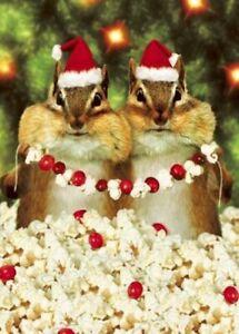 CHIPMUNKS CHRISTMAS CARD Avanti Press: Popcorn, Cranberries, Santa Hats Chipmunk