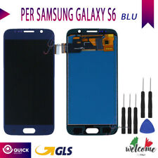 DISPLAY LCD SCHERMO TOUCH SCREEN VETRO PER SAMSUNG GALAXY S6 G920F SM-G920F BLU