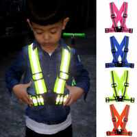 Portable Reflective LED Light Vest Strap Safety Belt For Night Running Cycling