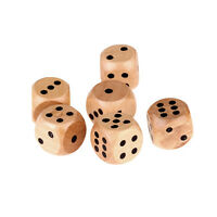 6 Pcs 16mm Wooden Wood Dice Game Natural Single Dice Board Games