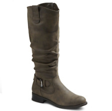 Womens Mossimo Quinn Buckle Harness Riding Boots Faux Suede Gray 5 1/2