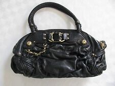 Juicy Couture Black Ruched Leather Jeweled Satchel Bag