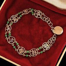 Antique Vintage Deco 14k Gold Chinese Carved Green Jade Jadeite Kanji Bracelet!