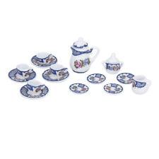 15pcs Dollhouse Mini Dining Ware Porcelain Tea Set Dish Cup Plate British Style