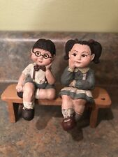 Darling Pair Sarah's Attic Boy with Glasses & Girl Edge Sitters On Bench