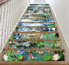 3D Lotus fish Rock Waterfall Self-adhesive Waterproof Staircase Stickers Murals