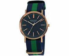 Axcent Blue and Green Canvas Strap Men's Watch Analogue Rose Gold Finish