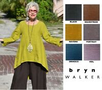 BRYN WALKER Heavy Linen  LEO TUNIC  Long A-Line Hi-Lo Top  1X 2X 3X  2018  FALL