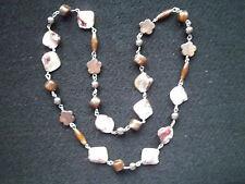 Modeschmuck Halskette Perlmutt etwas älter braun-töne 63 cm Perlen Bluse Jacke