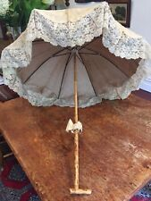 Genuine Original Victorian Antique Parasol Beige Lace Embroidered Umbrella Shade