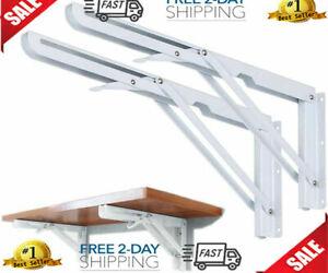 2PCS Folding Shelf Bracket, Wall Mount Support - Heavy Duty Fold Table Hinge