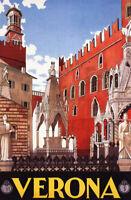 Verona Poster, Veneto, Northern Italy, Vintage Italian Travel Poster