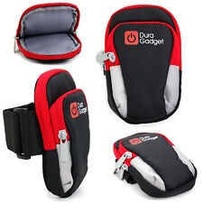 Black/Red Polyester Armband Case w/ Multiple Pockets for NEW Lenovo Vibe X2 Pro