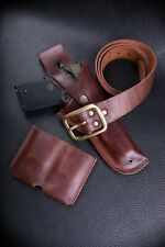 Custom Colt 1911 leather holster set, belt, pouch.