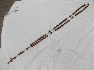 M88 / ANTIQUE 126CM LONG ROSARY WITH LARGE HAND CARVED WOODEN BEADS & CROSS