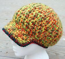 Awesome Green/Red Crocheted Beanie with a Visor - Handmade by Michaela