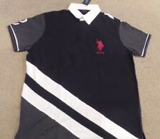 US POLO ASSN USPA Golf Shirt pique knit top BLACK collar rugby slim fit LARGE