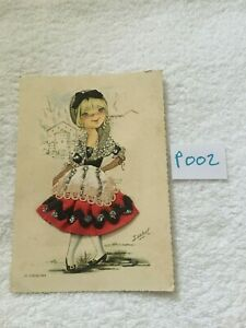 Collectable Postcard Madrid Fabric Dress Colour Picture No Stamp Vintage P002