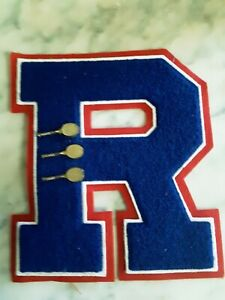 "Vintage High School Varsity Letter ""R"" Letterman Jacket Patch with 3 Tennis Pins"