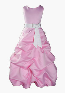 Baby Pink Flower Girl Dress Party Bridesmaid Dress 1-13 Years Sash in 10 Colours