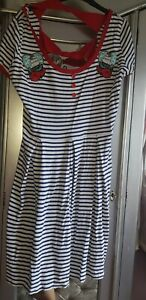 Hell Bunny Rockabilly Nautical Sailor Dress Size 22 3xl Plus Size Curve