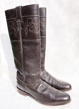 Vintage Justin Boots Dark Brown Leather Riding Boots L3076 Womens Sz 7 A