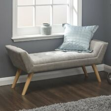 Shabby Chic Hallway Bench Furniture Bedroom Ottoman Tufted Seat Wooden Legs