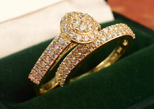 ladies Gold Engagement Rings And  Wedding Band Set bridal set for bride