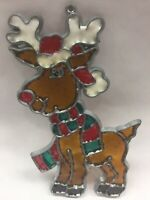 "Vintage ""Stained Glass"" Suncatcher RUDOLPH RED NOSE REINDEER Christmas Ornament"