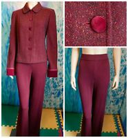 St. John Collection Knits Burgundy Jacket Pants L 10 12 2pc Suit Velvet Buttons
