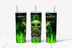 20oz skinny Stainless steel tumbler Yoda Monster energy theme