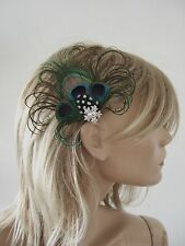 "Made in uk peacock pince à cheveux plume bleu marine vert noël party ""jay"""