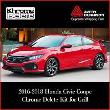 2016-2018 Honda Civic Coup Chrome Grill Trim Blackout Overlay