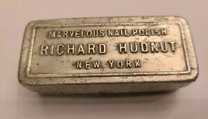 "RARE 1930's~""Richard Hudnut Marvelous Nail Polish""~Hinged Aluminum Tin~2.5"" Long"