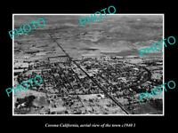 OLD POSTCARD SIZE PHOTO CORONA CALIFORNIA, AERIAL VIEW OF THE TOWN c1940 2