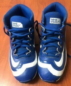 Nike BSBL Huarache Boys Baseball Football Shoes Cleats Size 4Y Blue and White