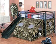 NEW G.I. ARMY CAMOUFLAGE TWIN LOFT METAL BUNK BED W/ SLIDE & POP UP TENT
