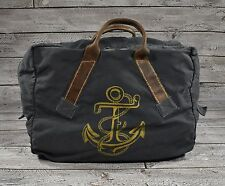 Ralph Lauren RRL Distressed Canvas Leather Nautical Anchor Duffle Bag New