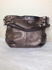 Coach Brooke Metallic Pewter Leather Hobo Handbag Shoulder Bag Chains F17165