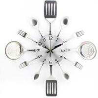 Kitchen Wall Clock Design 3D Unique Creative Mute Utensils Toned For Home Decor