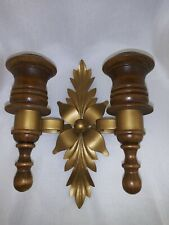 7� Double Candle Wall Sconse Goldtone Metal Floral& Wooden Wall Hanging