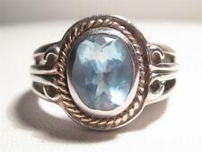 Sterling silver & 14 kt gold blue topaz ladies ring size 8.3/4