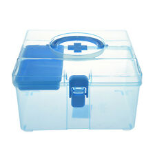 Blue Clear Plastic Family Healthy Box Medicine Chest Pill First Aid Case