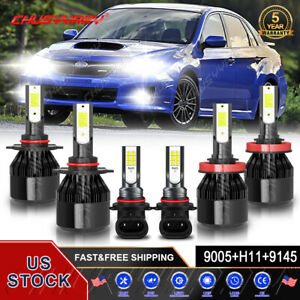 For Subaru Impreza 2008 - 2011 LED Headlight Fog Light 6pcs Bulbs 9005 H11 9006