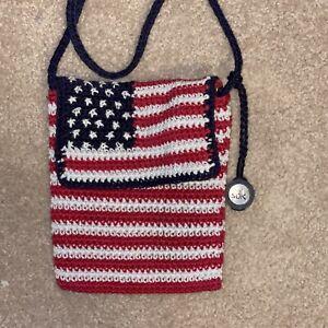 THE SAK Crocheted Knit USA American Flag Crossbody Shoulder Bag Red White & Blue