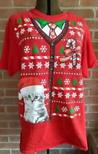 """Men's T Shirt """"Ugly Christmas Sweater"""" Size M- L Bow Tie Cat Kitten"""