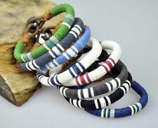 LOT 8PCS Multi Color Young Surfer Cotton Wraps Leather Wristband Bracelet Cuff